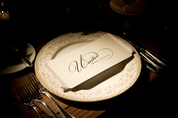 White and gold china plate with United menu card