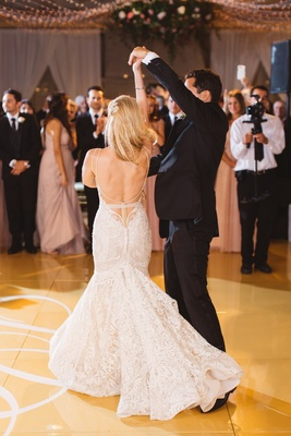 bride groom dancing dance floor berta wedding dress low back pelican hill reception after party