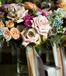Wedding ideas colorful wedding flowers pink rose lavender peach orange blue green flowers