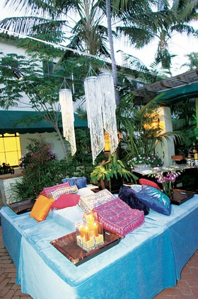 Colorful outdoor relaxation space