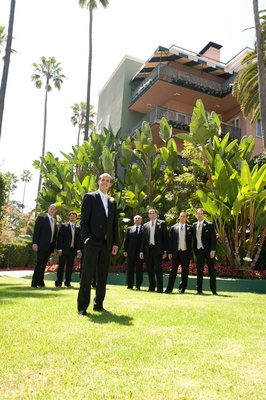 Groom with friends on Beverly Hills Hotel grounds