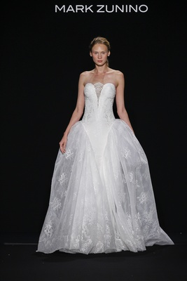 Mark Zunino for Kleinfeld 2016 strapless ball gown with lace skirt