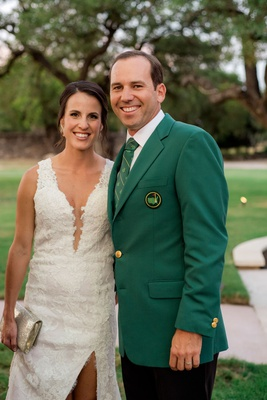 Pro Golfer 2017 Masters Tournament winner Sergio Garcia in green masters tournament jacket wedding