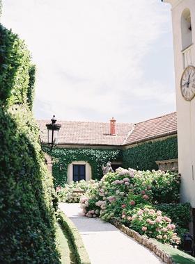 wedding location villa pink hydrangea bushes ivy stone statues benches romantic lake como villa