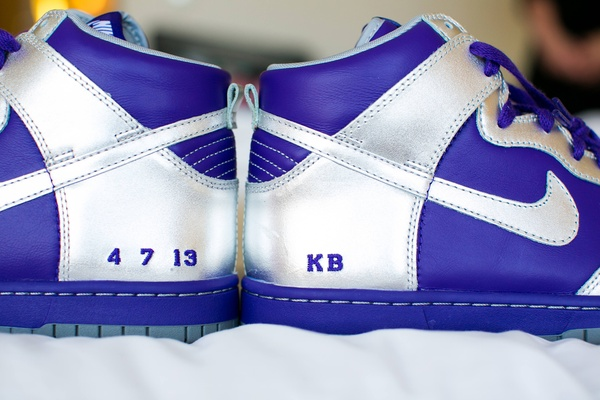 Hightop Nike sneakers with wedding date and initials