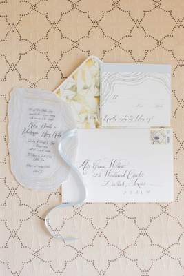Wedding invitation with sophisticated calligraphy agate geode slice invite and design envelope liner