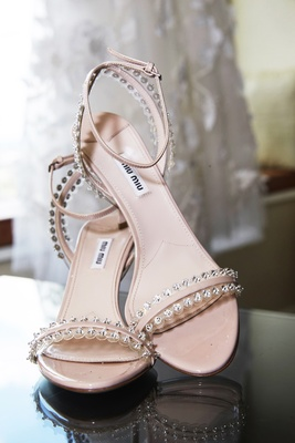 miu miu heeled sandals with crystal stud detailing