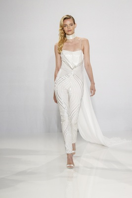 Christian Siriano for Kleinfeld Bridal sequin jumpsuit with unique pattern and train neckpiece