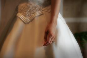 A-line wedding dress with diamond ring