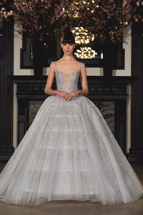 Ines Di Santo Spring 2019 collection v-neck ball gown with corset and cathedral train