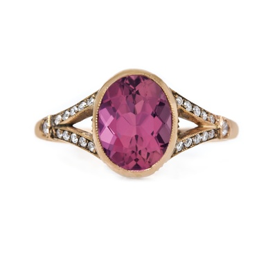 claire pettibone and trumpet and horn equinox engagement ring, rose gold, pink tourmaline gemstone