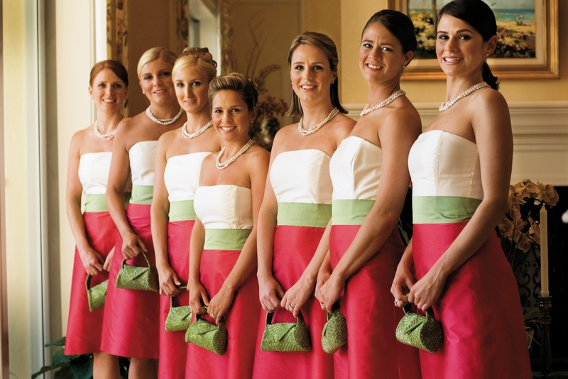 color blocked bridesmaid dresses in pink, white and green