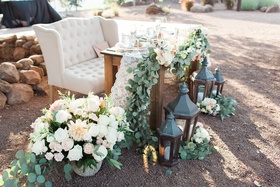 rustic chic sweetheart table winery vines lanterns southern california wedding