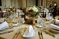tan wedding table linens, gold branch centerpiece with pink garden rose, white hydrangea