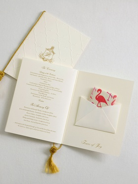 Wedding ceremony program book fold gold white ivory tears of joy flamingo print tissues gold tassel