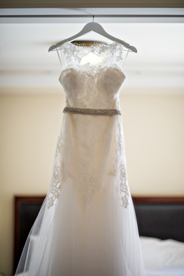 a-line gown with lace overlay and illusion neckline