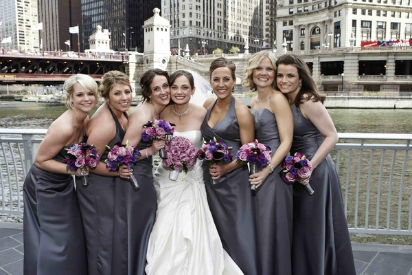 Bride with lilac grey bridesmaids by Chicago River