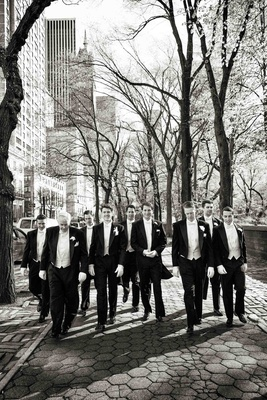 Black and white photo of groomsmen in NYC