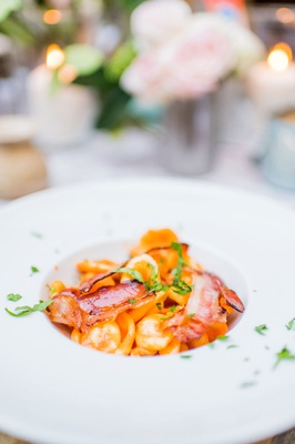 orecchiette con pancetta affumicata e panna with smoked bacon and creamy spiced tomato sauce italy