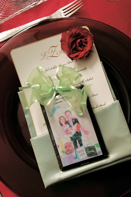 Bride and groom illustration on chocolate wedding favor