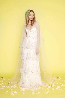 Sabrina Dahan tier wedding dress with flower print embroidery Amelie long sleeves