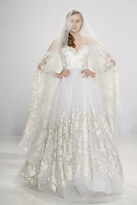 Christian Siriano for Kleinfeld Bridal ball gown with sweetheart neckline and lace details on skirt