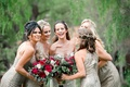 bridesmaids in metallic sequin amsale dresses, bridesmaids with headpieces