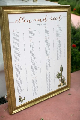 desert themed gold and white seating chart with calligraphy with green cactus cacti