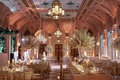The Breakers wedding in Mediterranean Ballroom with tall white centerpieces gold checker flooring