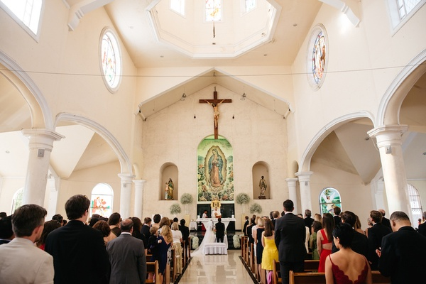 Wedding ceremony at Nuestra Señora de Guadalupe, Playa del Carmen, Mexico