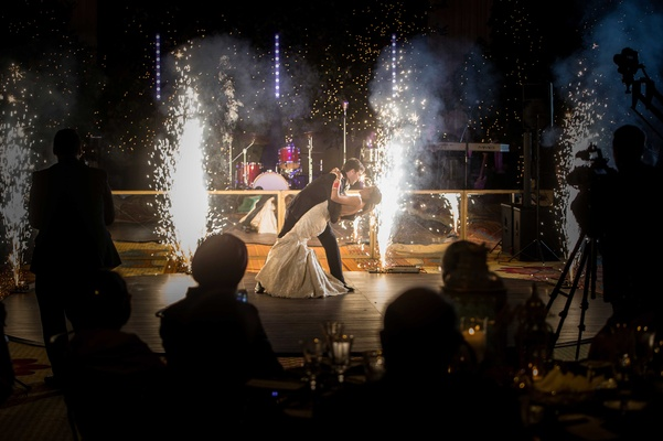 first-dance, fireworks Indian bride and Catholic groom interfaith wedding ceremonies