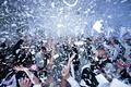 Confetti falling on wedding reception dance floor