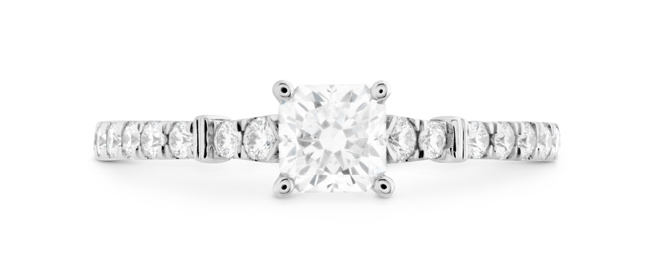 Hearts On Fire Cali Chic dream rope diamond engagement ring with solitaire pave band