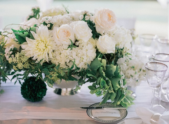 Wedding centerpiece in silver bowl with dahlia rose and hydrangea