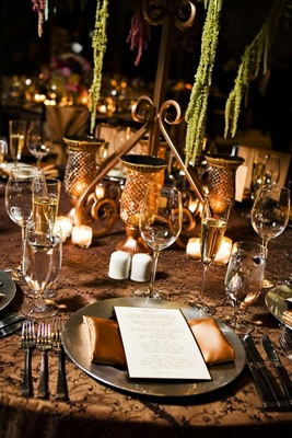 Brown wedding reception table decorations