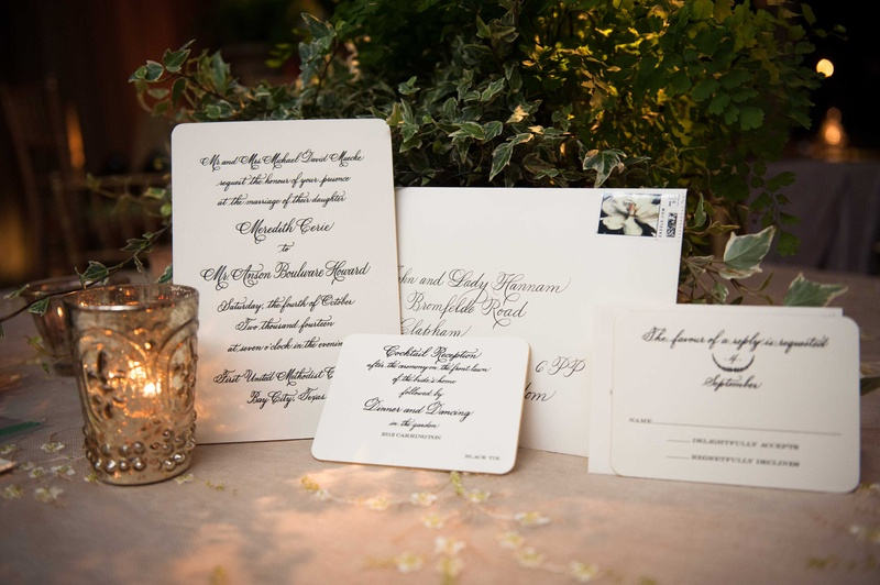 Classic wedding invitation look with white stationery and black calligraphy