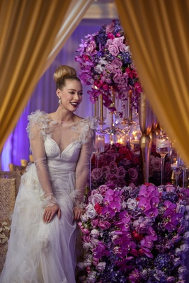 model bride vibrant floral arrangement pink purple styled shoot tablescape bold