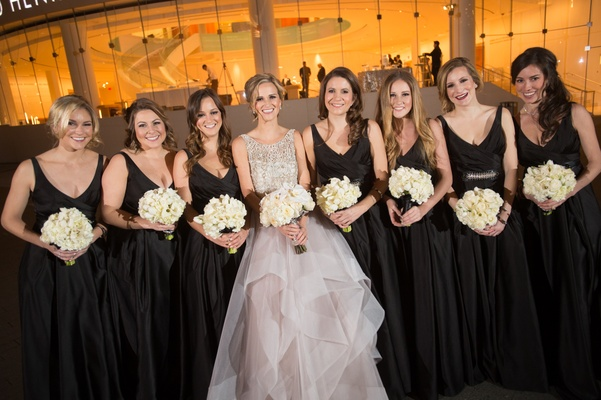 Hayley Paige bride with girls in black dresses