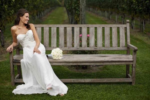 Bride In White Sheath Wedding Dress At Vineyard Venue