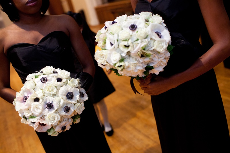 White anemone flowers with black centers