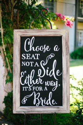 chalkboard ceremony sign for same-sex wedding