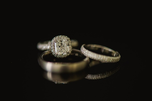 Multi-row diamond band and halo engagement ring