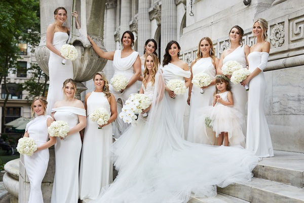 bride in galia lahav wedding dress and veil orchid bouquet bridesmaids mismatched white katie may
