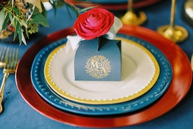 beauty beast movie styled wedding shoot navy gold gift box initials colorful fairy tale chargers