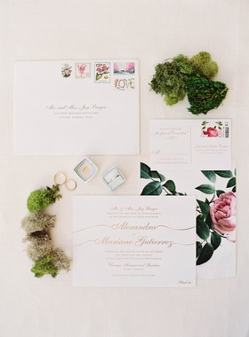 Wedding invite gold calligraphy with pink peony flower and floral stamps rsvp card moss greenery