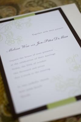 Chocolate and sage wedding invites