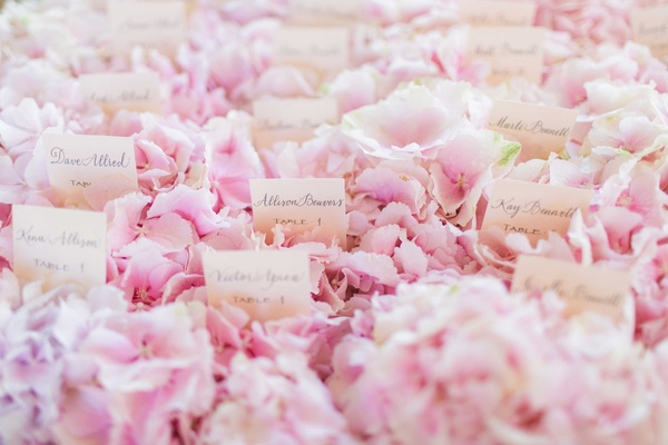 Calligraphy on white escort cards on bed of pink hydrangea display