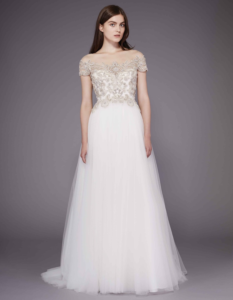 Dolores Wedding Dress With Tulle Skirt And Beaded Bodice By Badgley Mischka
