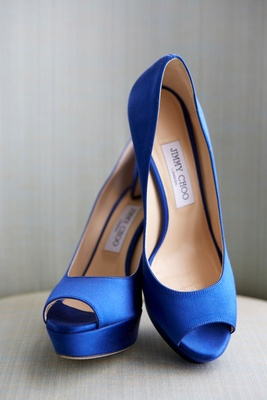 Peep toe pumps satin cobalt blue wedding shoes bridal heels Jimmy Choo