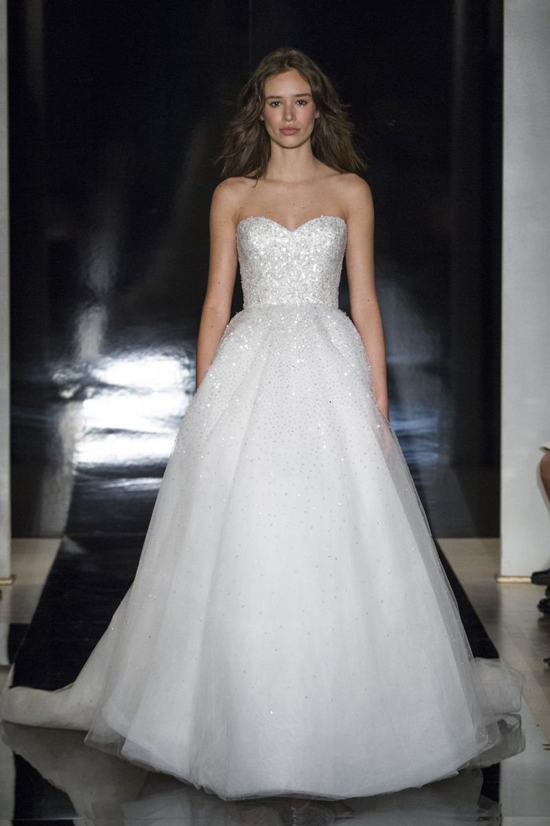 Wedding Dresses Photos - Strapless Tulle Ball Gown with Beading by ...